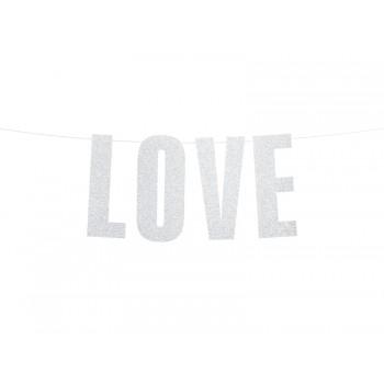 Baner 'Love' srebrny 21x55cm