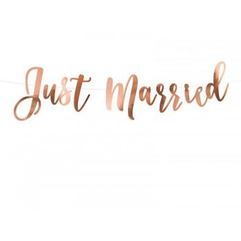 Baner 'Just Married' różowe złoto 20x77cm