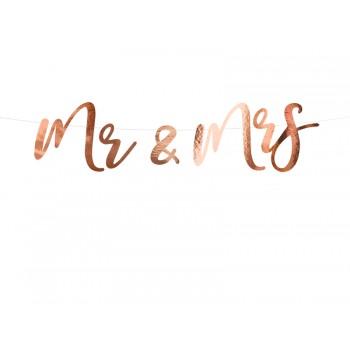 Baner 'Mr & Mrs' różowe złoto 16,5x68cm