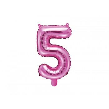 """Balon foliowy ciemny różowy 35cm cyfra """"5"""""""