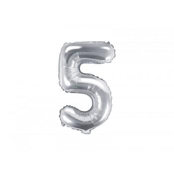 """Balon foliowy srebrny 35cm cyfra """"5"""""""