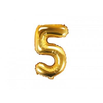 """Balon foliowy złoty 35cm cyfra """"5"""""""