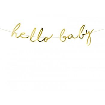 Baner 'Hello Baby' złoty 18x70cm