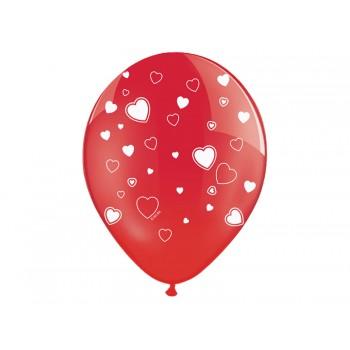 Balony Serca Crystal Poppy Red 30cm - 6szt