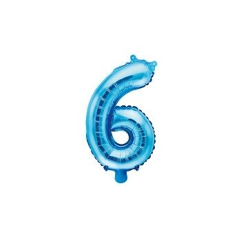 "Balon foliowy niebieski 35cm cyfra ""6"""