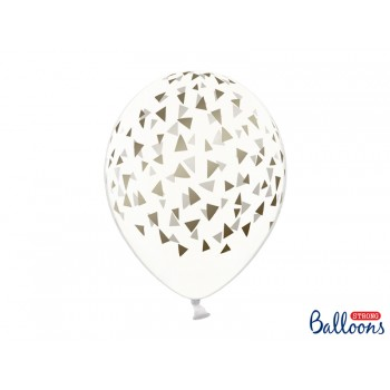 Balony Trójkąty Crystal Clear 30cm - 6szt