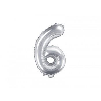 """Balon foliowy srebrny 35cm cyfra """"6"""""""