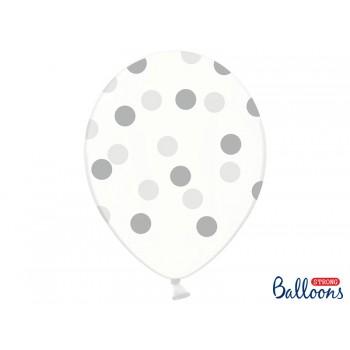 Balony Kropki Crystal Clear 30cm  - 6szt