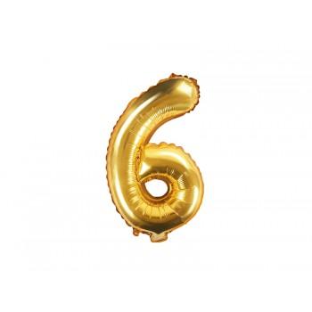 """Balon foliowy złoty 35cm cyfra """"6"""""""