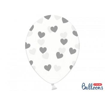 Balony Serduszka Crystal Clear 30cm- 6 szt