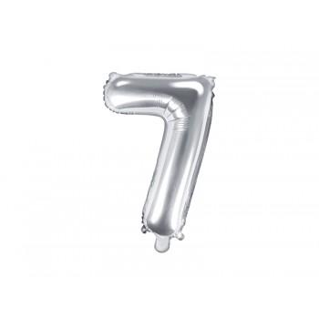 """Balon foliowy srebrny 35cm cyfra """"7"""""""