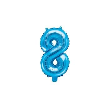 "Balon foliowy niebieski 35cm cyfra ""8"""