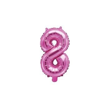 """Balon foliowy ciemny różowy 35cm cyfra """"8"""""""