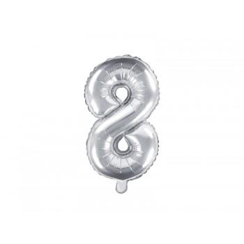 """Balon foliowy srebrny 35cm cyfra """"8"""""""