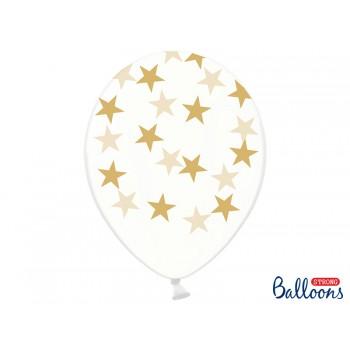 Balony Gwiazdki Crystal Clear 30cm - 6szt