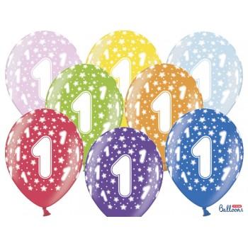 Balony 1 urodziny 30cm - 6szt