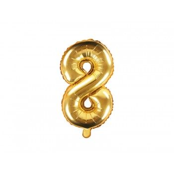 """Balon foliowy złoty 35cm cyfra """"8"""""""