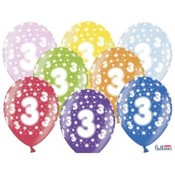 Balony 3 urodziny 30cm - 6szt
