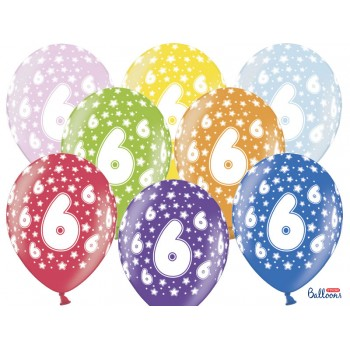 Balony 6 urodziny 30cm - 6szt