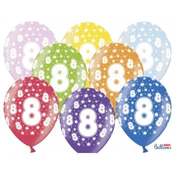 Balony 8 urodziny 30cm - 6szt