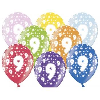 Balony 9 urodziny 30cm - 6szt