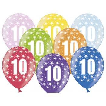Balony 10 urodziny 30cm - 6szt