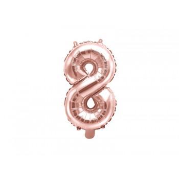 """Balon foliowy różowe złoto 35cm cyfra """"8"""""""