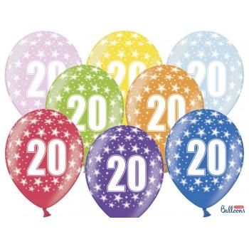 Balony 20 urodziny 30cm - 6szt