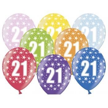 Balony 21 urodziny 30cm - 6szt