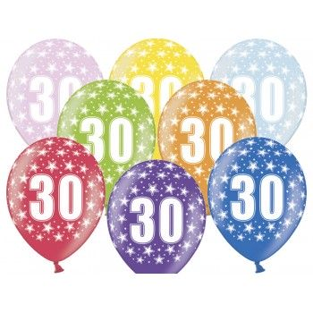 Balony 30 urodziny 30cm - 6szt