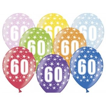 Balony 60 urodziny 30cm - 6szt
