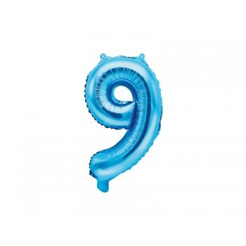 "Balon foliowy niebieski 35cm cyfra ""9"""