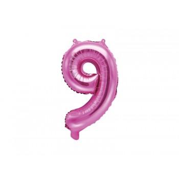 """Balon foliowy ciemny różowy 35cm cyfra """"9"""""""