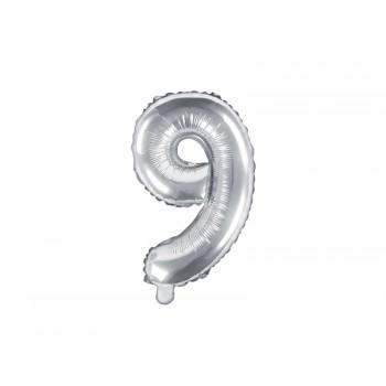 """Balon foliowy srebrny 35cm cyfra """"9"""""""