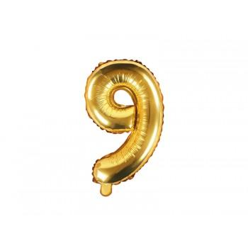 """Balon foliowy złotym 35cm cyfra """"9"""""""