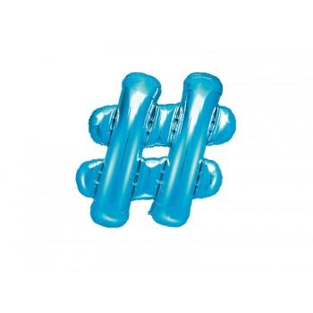 """Balon foliowy niebieski 35cm """"hash"""" kratka"""