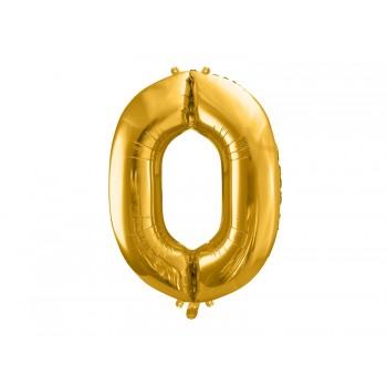 """Balon foliowy metalizowany złoty 86cm cyfra """"0"""""""