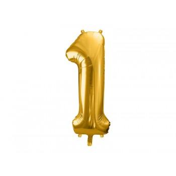 """Balon foliowy metalizowany złoty 86cm cyfra """"1"""""""