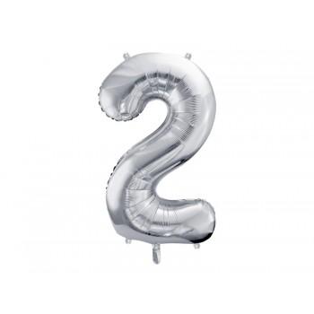 """Balon foliowy metalizowany srebrny 86cm cyfra """"2"""""""