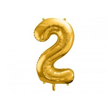 """Balon foliowy metalizowany złoty 86cm cyfra """"2"""""""