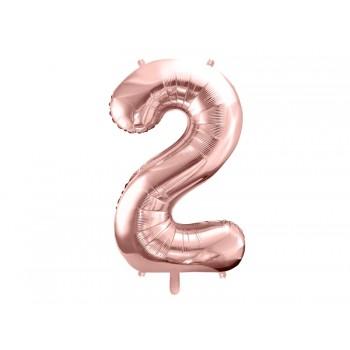 """Balon foliowy metalizowany różowe złoto 86cm cyfra """"2"""""""