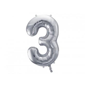 """Balon foliowy metalizowany srebrny 86cm cyfra """"3"""""""