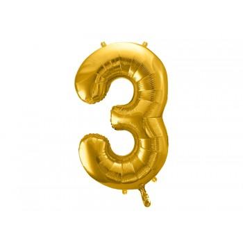 """Balon foliowy metalizowany złoty 86cm cyfra """"3"""""""