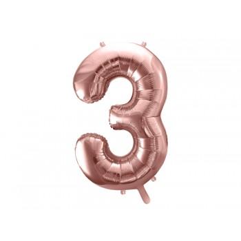 """Balon foliowy metalizowany różowe złoto 86cm cyfra """"3"""""""