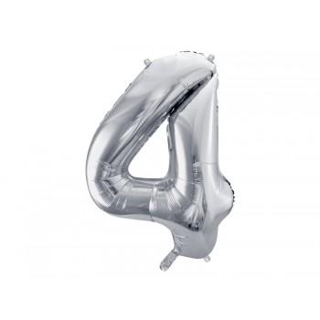 """Balon foliowy metalizowany srebrny 86cm cyfra """"4"""""""