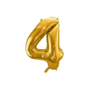 """Balon foliowy metalizowany złoty 86cm cyfra """"4"""""""