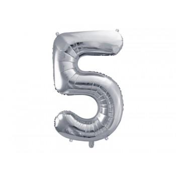 """Balon foliowy metalizowany srebrny 86cm cyfra """"5"""""""
