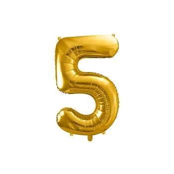 """Balon foliowy metalizowany złoty 86cm cyfra """"5"""""""