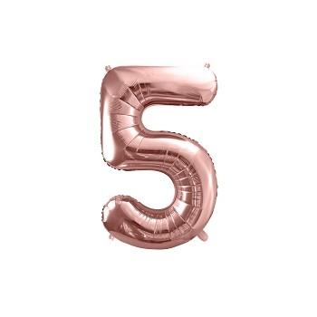 """Balon foliowy metalizowany różowe złoto 86cm cyfra """"5"""""""