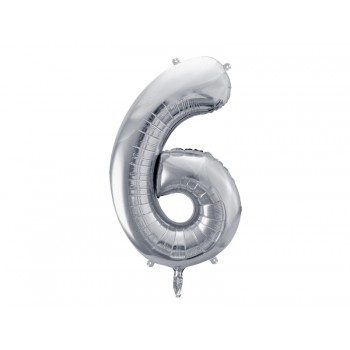 """Balon foliowy metalizowany srebrny 86cm cyfra """"6"""""""